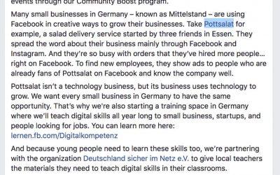 Facebook COO Sheryl Sandberg nennt Pottsalat als Vorzeigebeispiel für die erfolgreiche Nutzung von Facebook-Ads